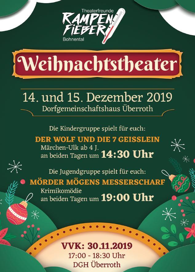 Weihnachtstheater der Theaterfreunde Rampenfieber Bohnental