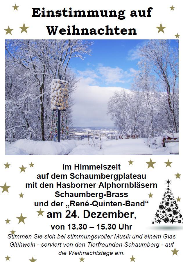Einstimmung auf Weihnachten im Himmelszelt auf dem Schaumbergplateau